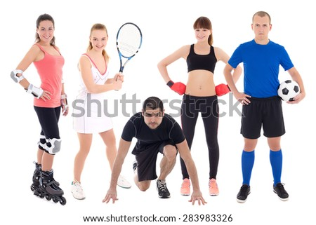 different sports concept - people in sportswear isolated on white background - stock photo