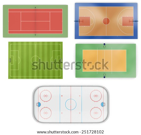 Different sports fields set  isolated on white background. 3d illustration.