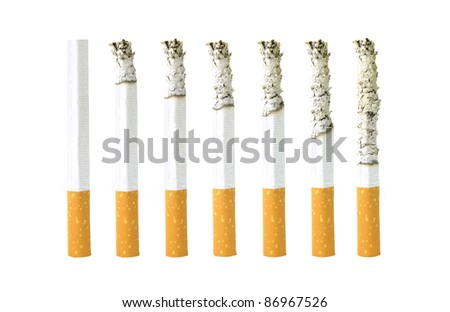 Different stages of smoking a cigarette - stock photo