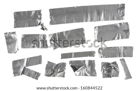 Different stripes of duct tape. All isolated on a white background. - stock photo