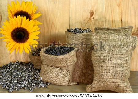 Different sunflower seeds in burlap bags (sacks) and spilled over wooden table and sunflowers in front of wooden wall