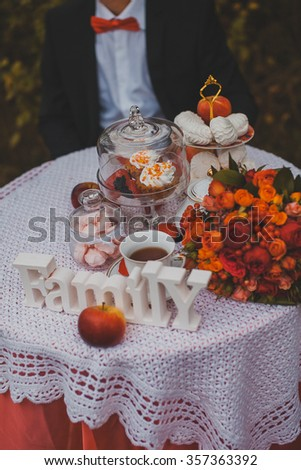 Different sweets on the wedding table - stock photo