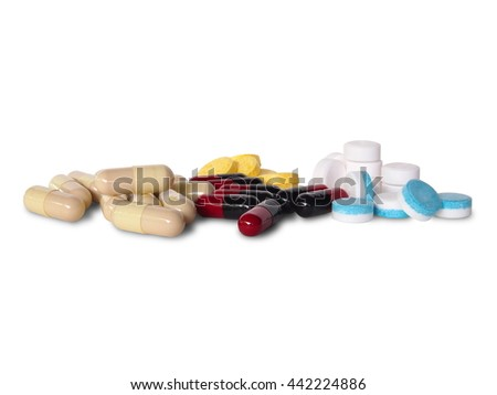 different Tablets pills capsule heap mix therapy drugs doctor flu antibiotic pharmacy medicine medical (isolated on white) - stock photo