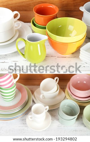 Different tableware on shelf, on wooden background - stock photo