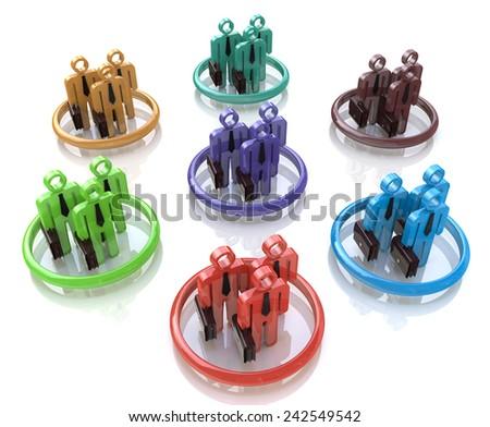 Different teams symbol 3D  - stock photo