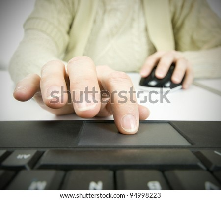 different technology, using computer mouse and touch pad - stock photo