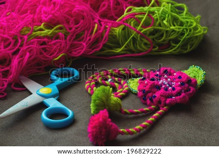 Different things for needlework and knitting - stock photo