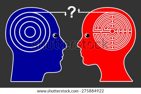 Different Thinking Pattern. Women think differently than men leading to misunderstanding and open questions - stock photo
