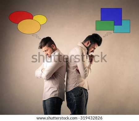 Different thoughts - stock photo