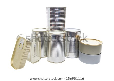 Different tin cans isolated on white.  - stock photo