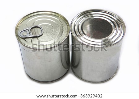 different tin cans isolated on white - stock photo