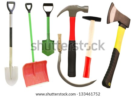 Different tools under the white background