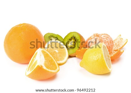 different tropical fruits on white background