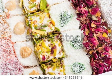 Different type of turkish delight, view from above - stock photo
