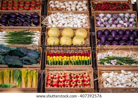 Different type of vegetables and fruits makes beautiful background - stock photo