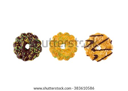 Different types of biscuits on a white background. Top view