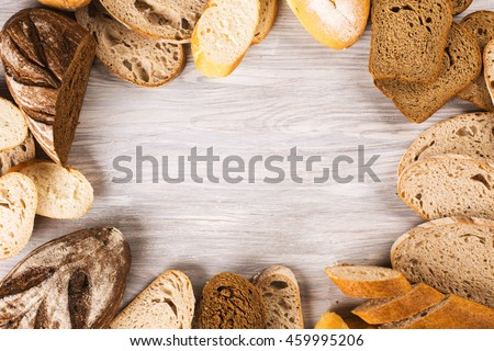 Different types of bread arranged as a frame