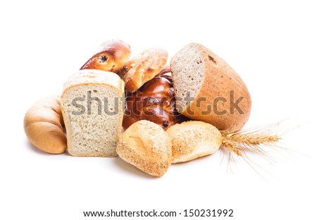 Different types of breads and buns isolated on white - stock photo