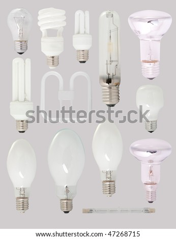 Different types of bulbs isolated on gray background - stock photo