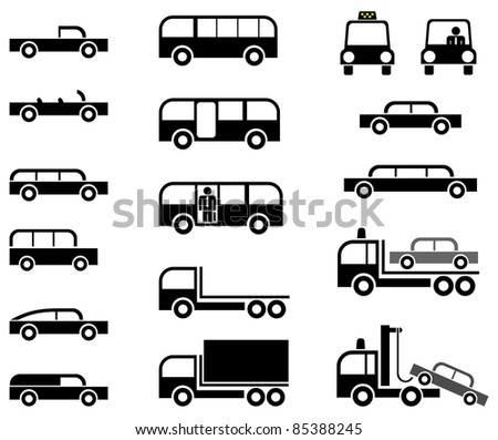 Different types of car body - stylized vector icons. Cars, trucks, tow trucks and buses. Isolated on white background. - stock photo