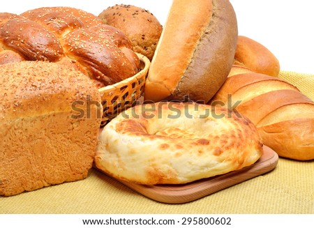 Different types of fresh bread background - stock photo