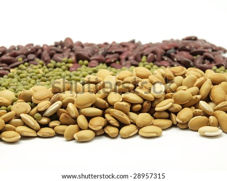 Different types of haricot beans, peas and lentil - stock photo