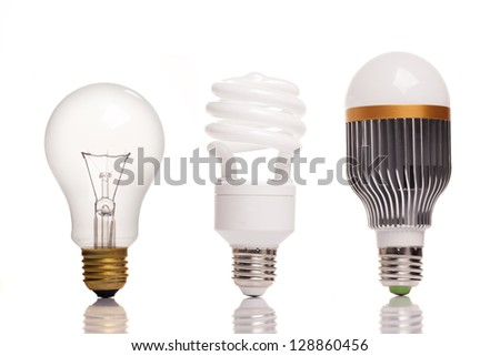 different types of light bulbs - stock photo