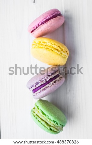 Different types of macaroons, french macaroons or macaron,Colorful macaroons