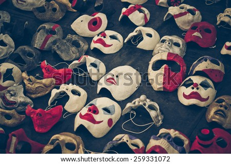 different types of masks - stock photo