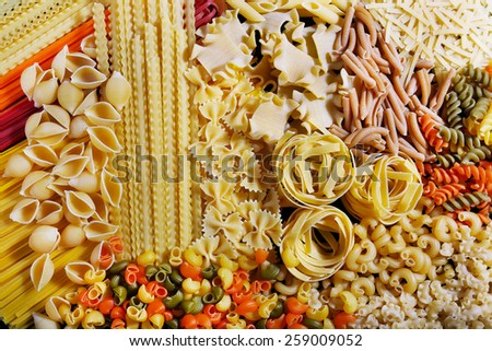 Different types of pasta, macro view - stock photo