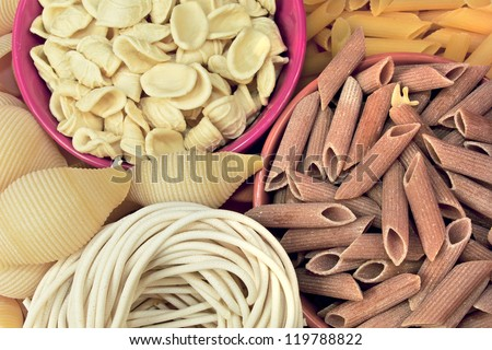 different types of pasta. whole wheat pasta, pasta, corn, rice noodles - stock photo