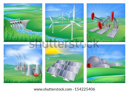 Different types of power and energy generation. Wind, solar, hydro or water dam and other renewable or sustainable as well as fossil fuel, nuclear power plants and oil well pumpjacks  - stock photo