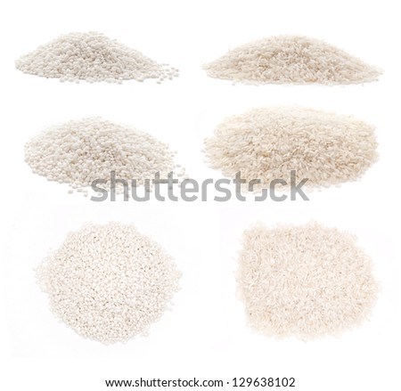 different types of rice? arborio and basmati over white background - stock photo