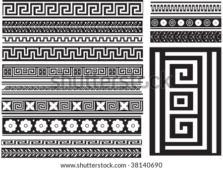 Different types of seamless Greek patterns. Raster illustration - stock photo
