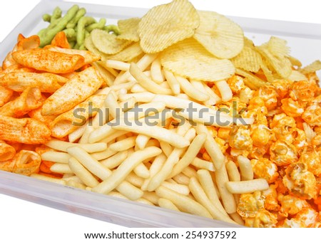 Different types of snack closeup - junk food - stock photo