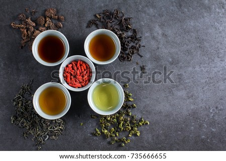Different Types Tea Ceremony Top View Stock Photo Royalty Free