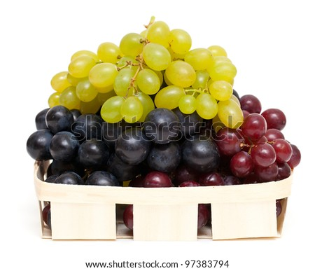 different variety of grape on white background - stock photo