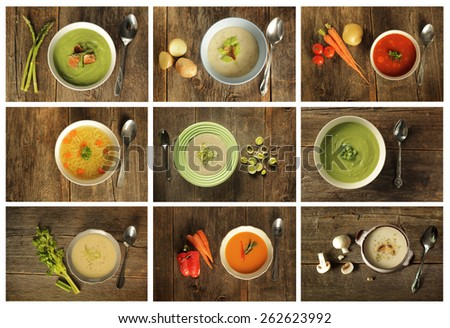 Different variety of soup on wooden background. Broccoli, celery, asparagus and leek, vegetable, mushroom etc. - stock photo