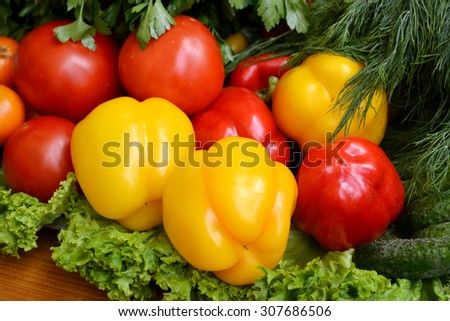 Different vegetables - bell peppers, cucumbers, tomatoes and herbs - stock photo