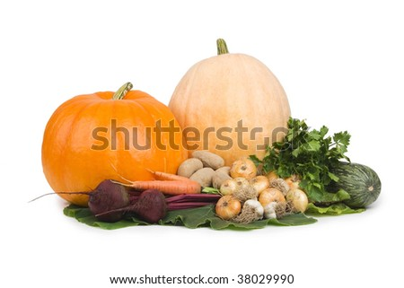 Different vegetables on white background. - stock photo
