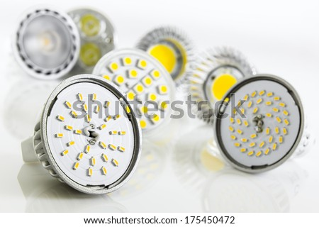 different versions of LED chips for GU10 and MR16 with various cooling - stock photo