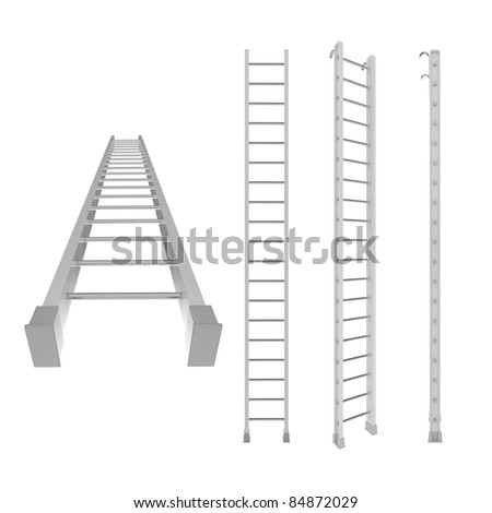 Different view of white 3d ladder - stock photo