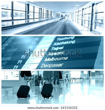 Different views from airport. Travel collage - stock photo