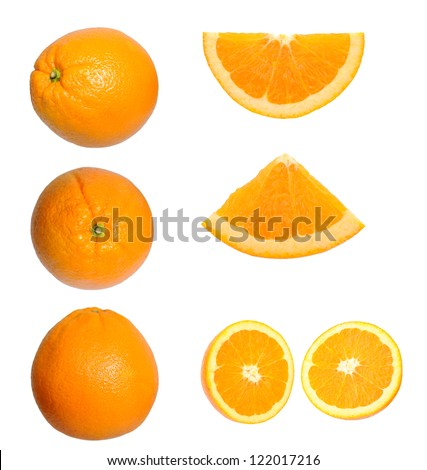 different views of whole and cutting orange fruit isolated on white background