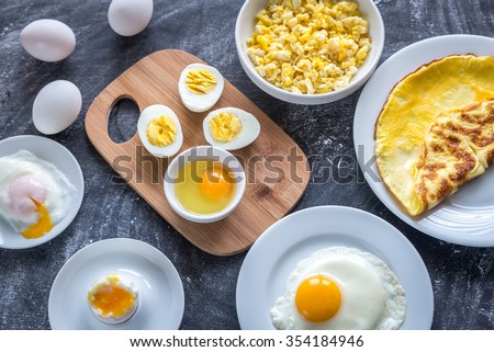 Different ways of cooking eggs - stock photo