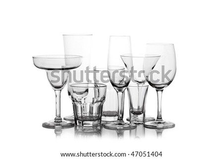 different Wine glasses silhouetted on white