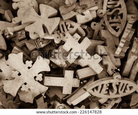 Different Wooden Crosses Jesus Fish Symbol Stock Photo Royalty Free