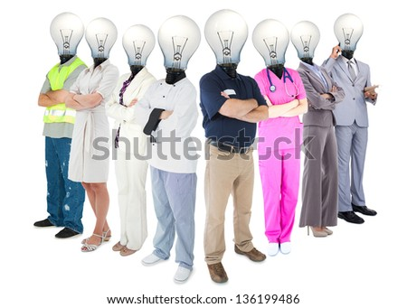 Different workers with light bulb heads standing in a row on white background - stock photo