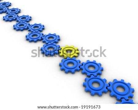 Different yellow gear - stock photo
