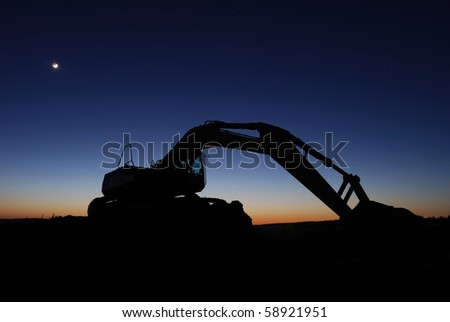 Digger after sunset